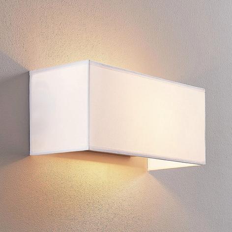 Textilní nástěnná lampa Adea, 30 cm, hranatá, bílá