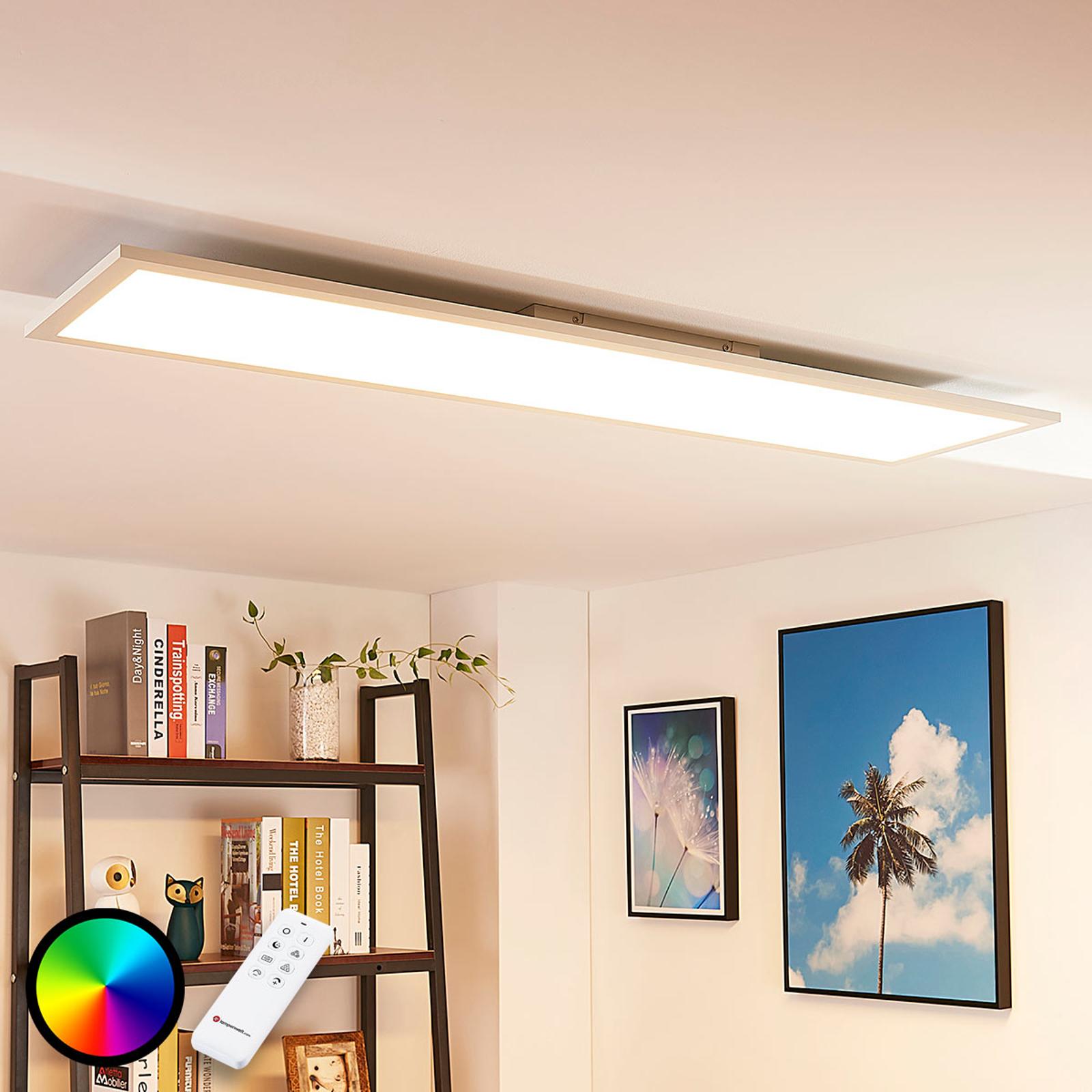 Langwerpig LED plafondlamp Tinus, RGB en warmwit