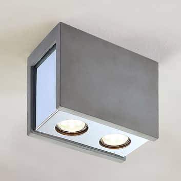 Beton-plafondlamp Freyja, 2 lampjes