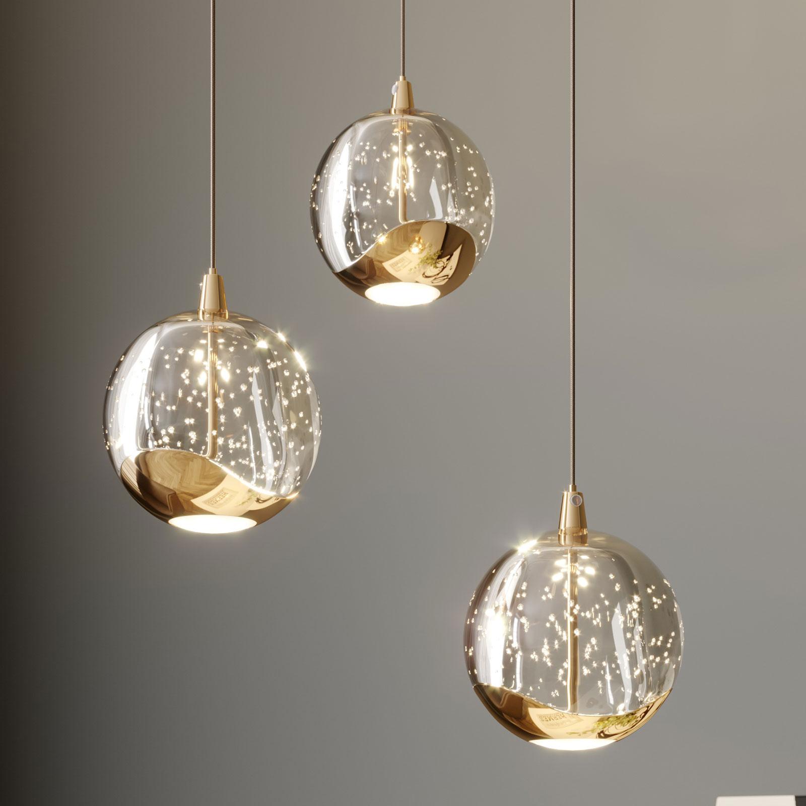 LED-pendellampe Hayley, 3 lyskilder, gull