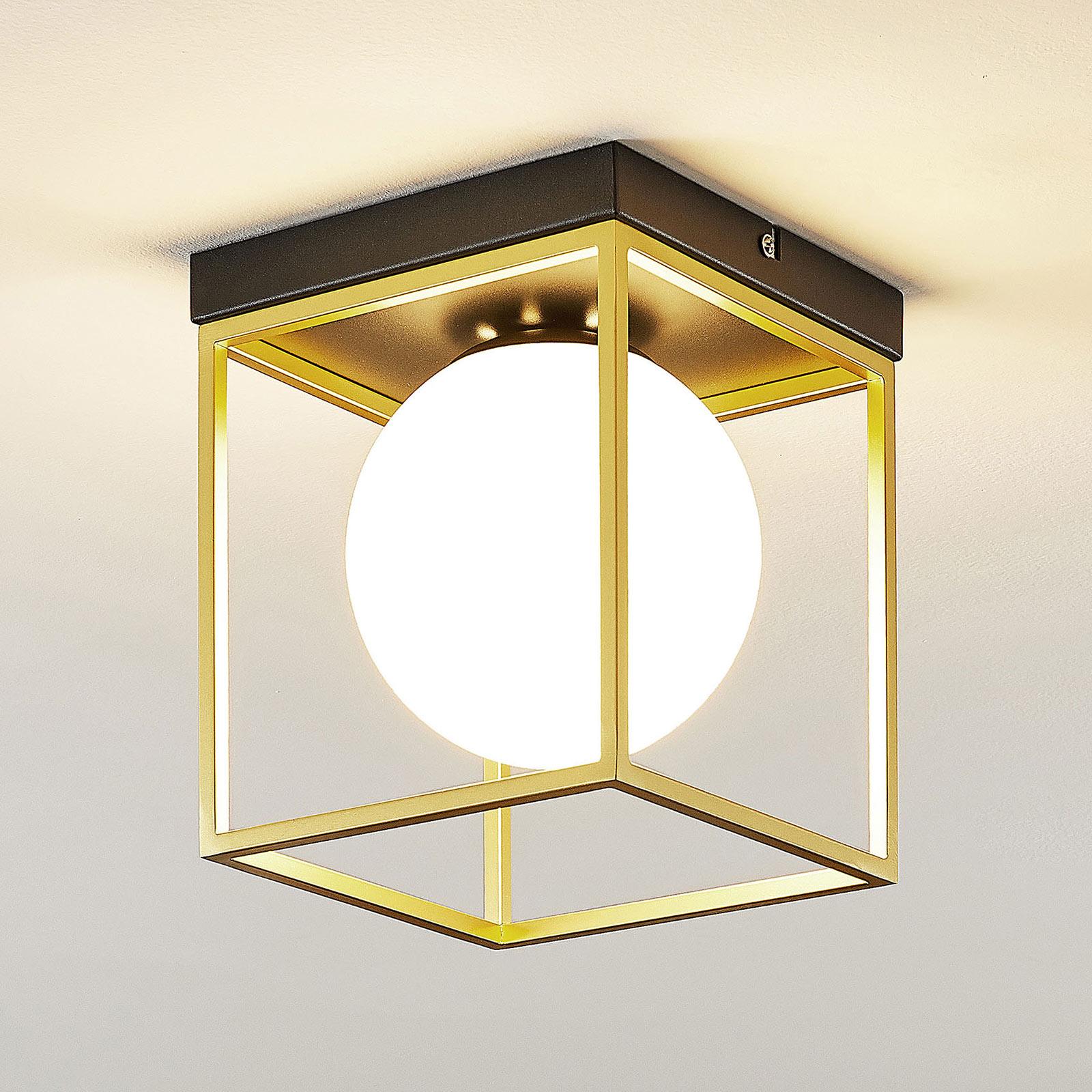 Plafonnier Aloam avec sphère en verre blanc, 1l.