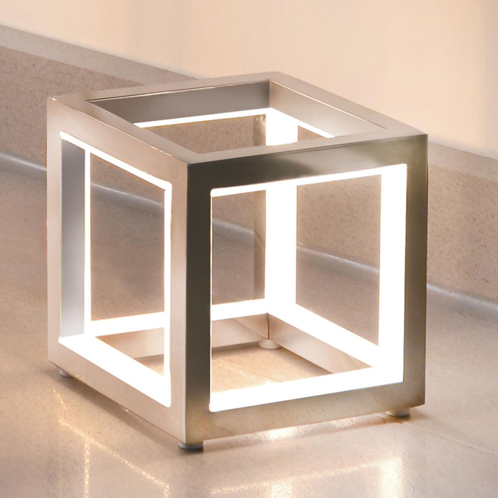 Delux - lampe à poser LED cubique, alu, 12 cm