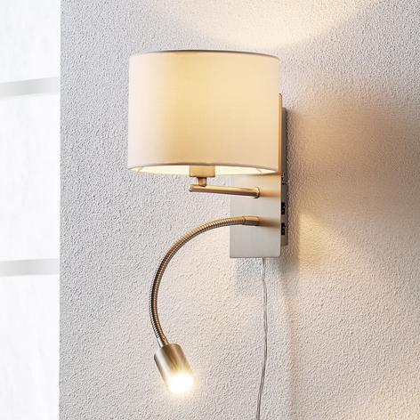 Florens - textiel wandlamp met LED leeslamp