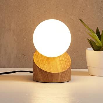LED-Tischleuchte Alisa mit Fuß in Holzoptik