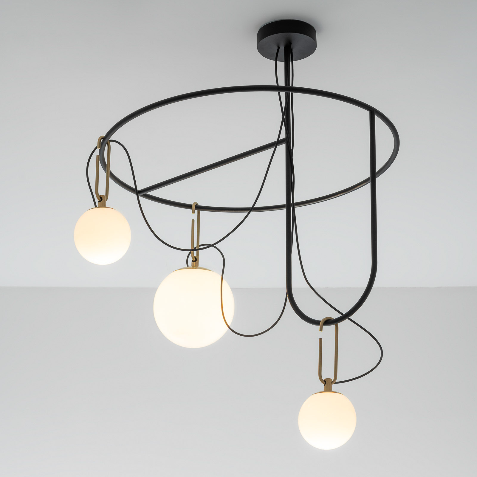 Artemide nh S4 suspension en verre, à 3 lampes