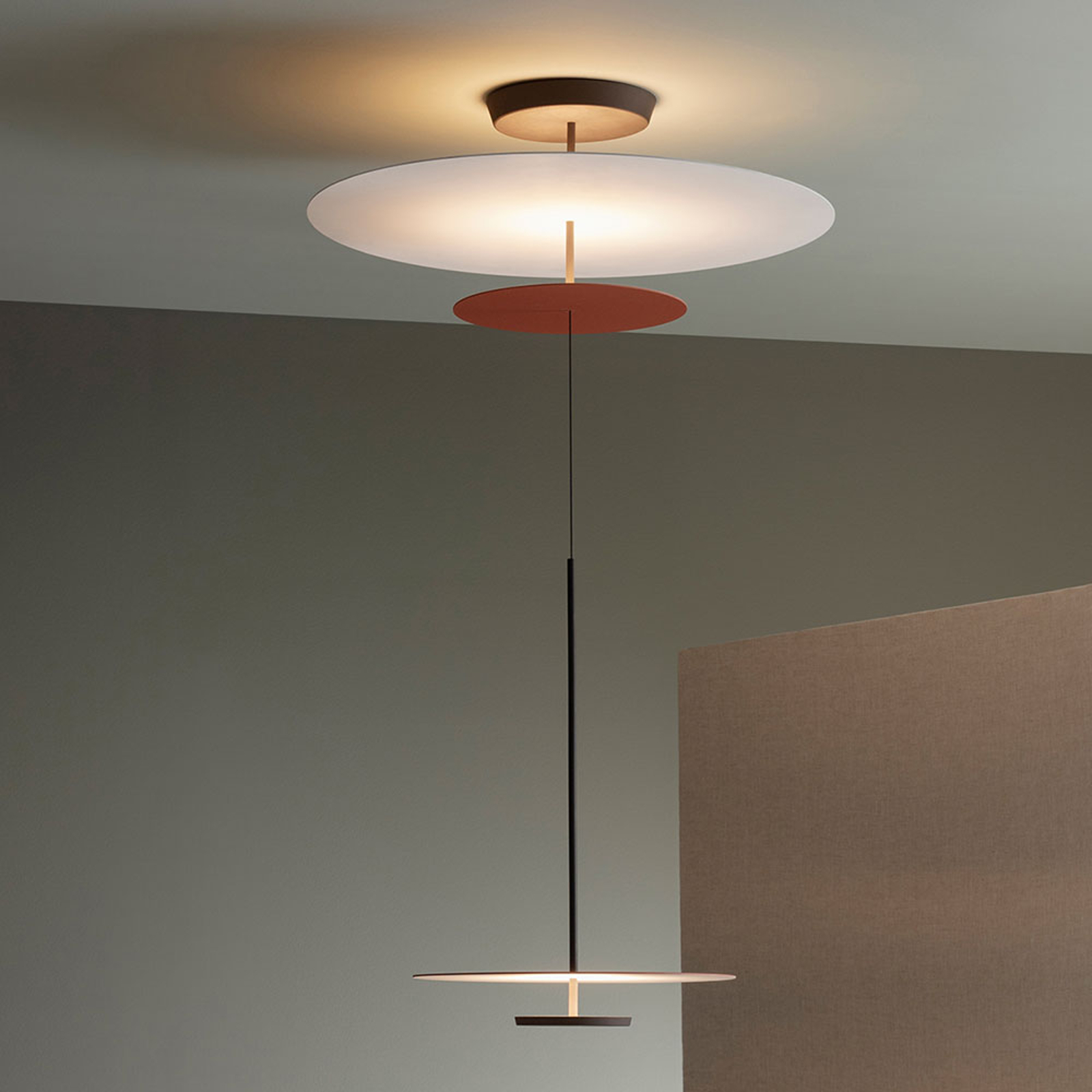 Vibia Flat LED-hengelampe 3 lys, Ø 90cm terrakotta