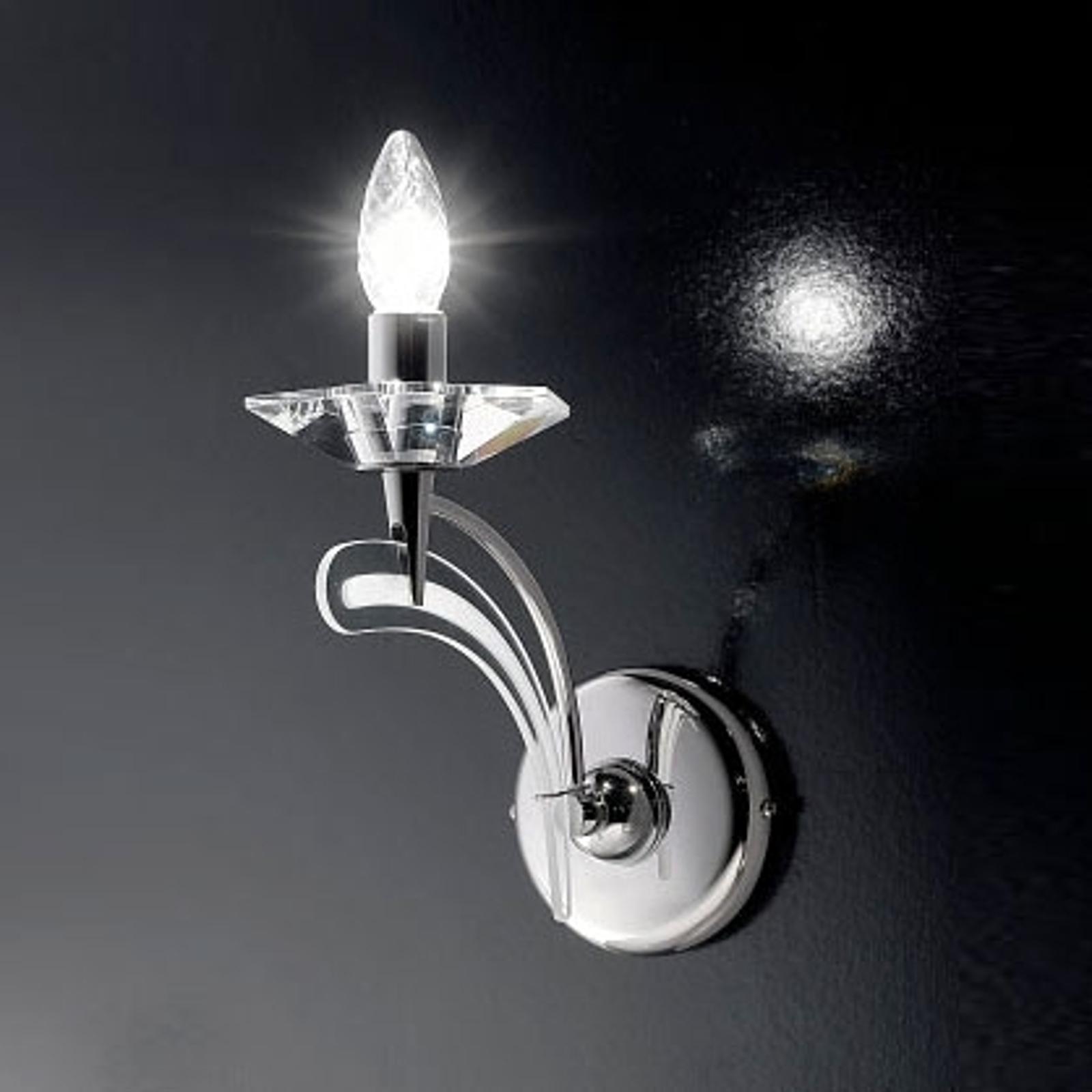 Wandlamp ICARO, 1-lichts met kristalglas, chroom