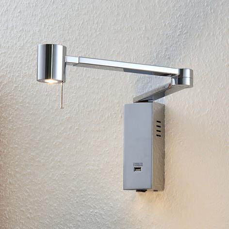 LED-vegglampe Merete med USB-port