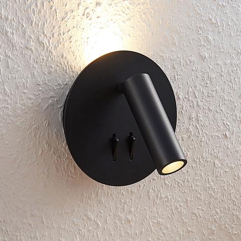 Lucande Magya Aplique LED negro 2 luces redondo