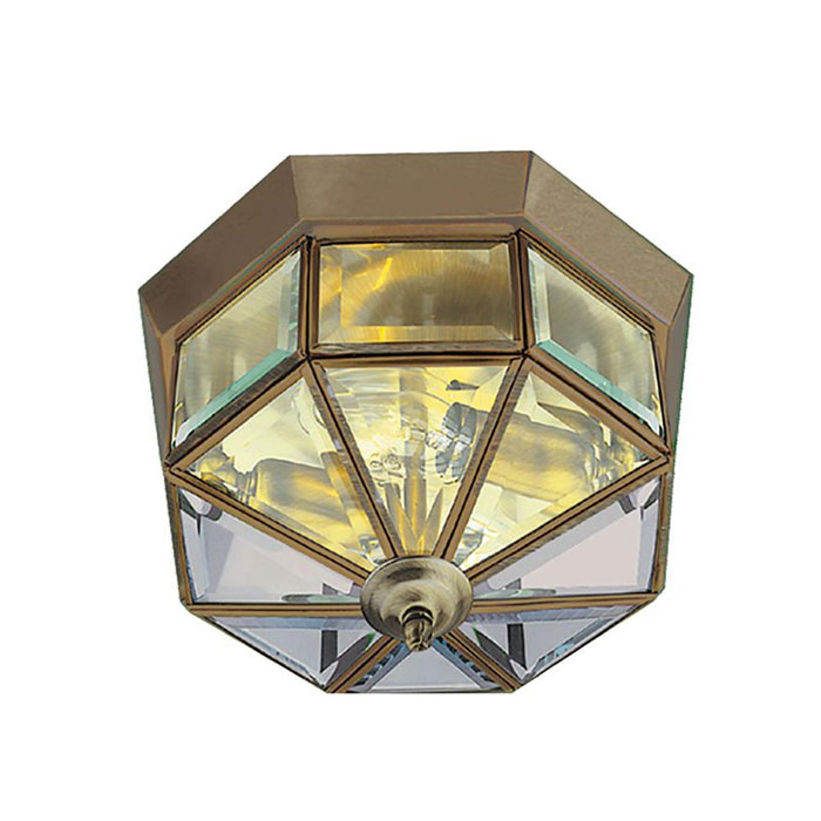 Lampa sufitowa Flush Klassik mosiądz ośmiokątna