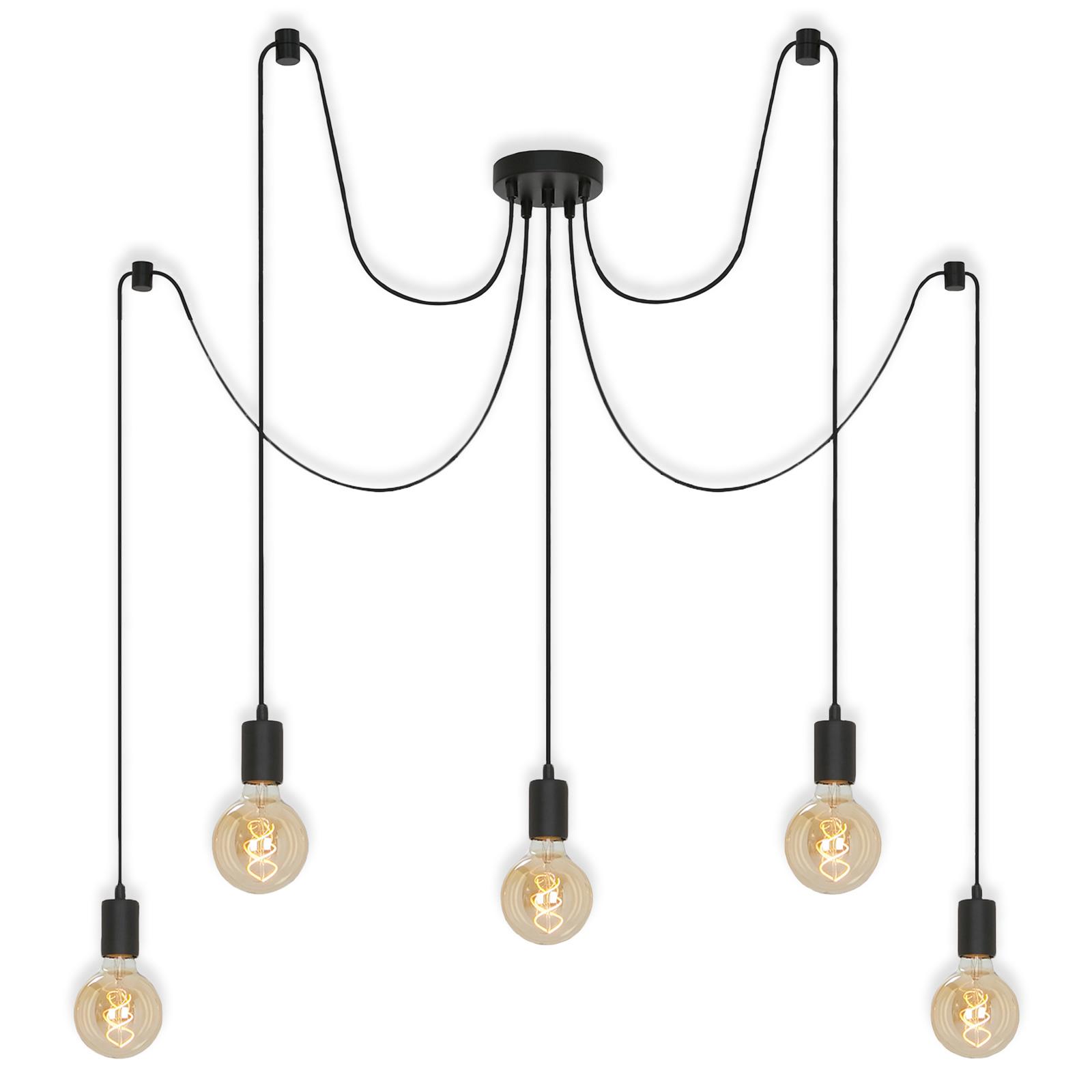 Hanglamp 4104-055 Black steel, 5-lamps