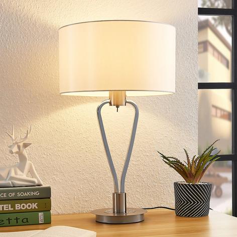Lucande Gyda lámpara de mesa, níquel satinado