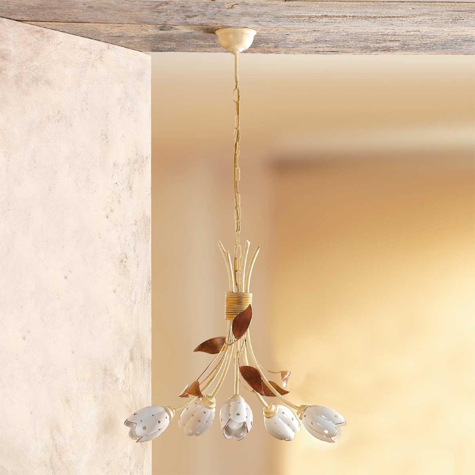 Blomstret TULIPANO hengelampe med fem lys