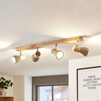 LED-Strahler Filiz aus Holz und Beton, 4-flammig