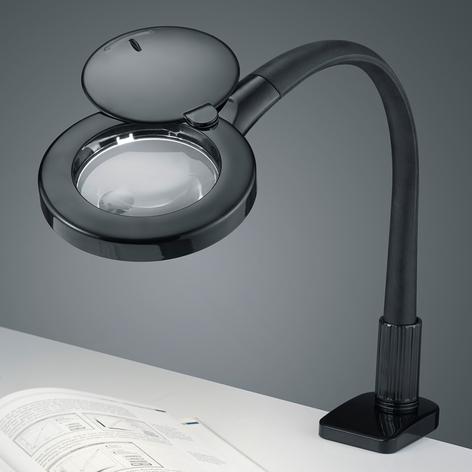 Förstoringsglas-LED-klämlampa Lupo i svart