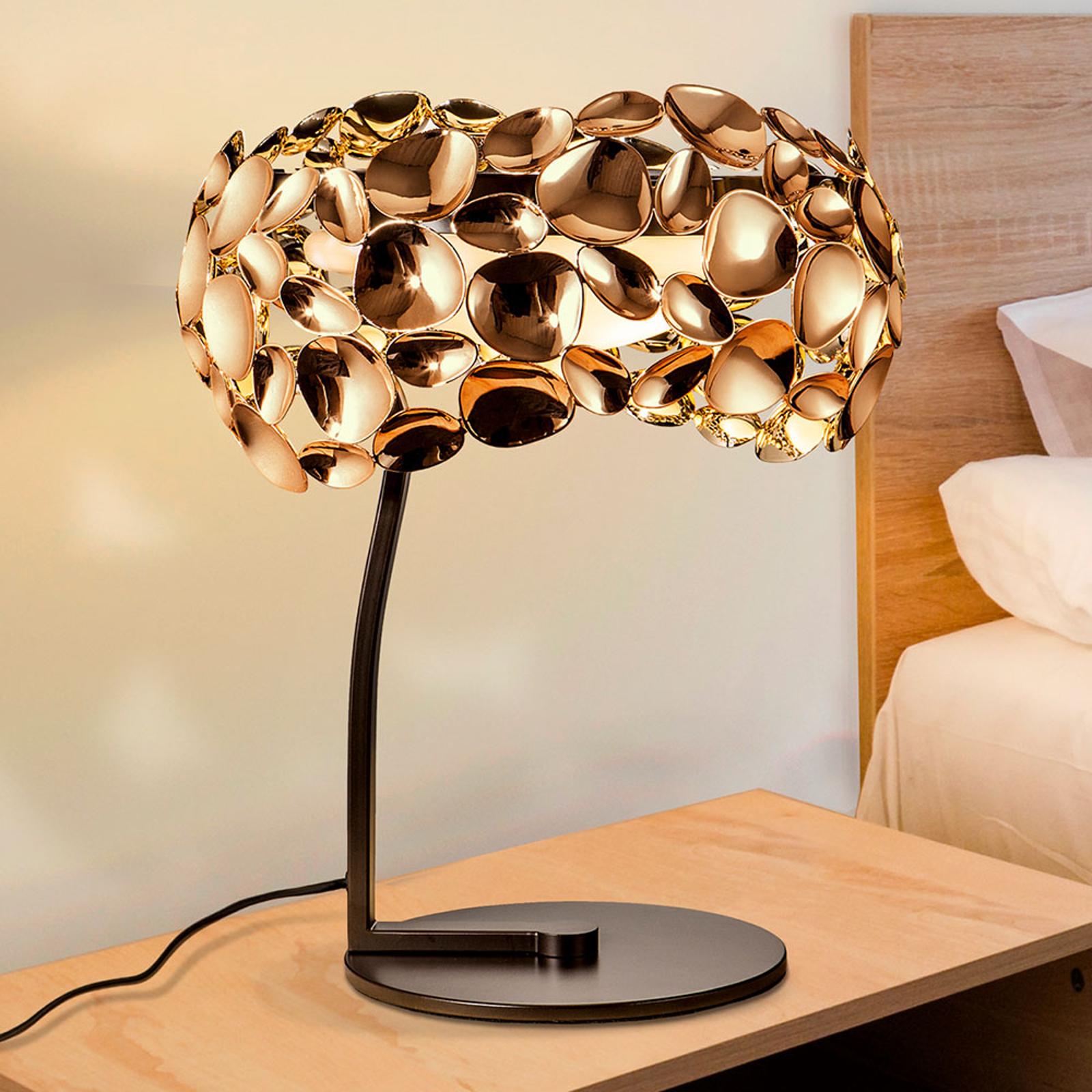 Narisa LED-bordlampe, rosagold, brun