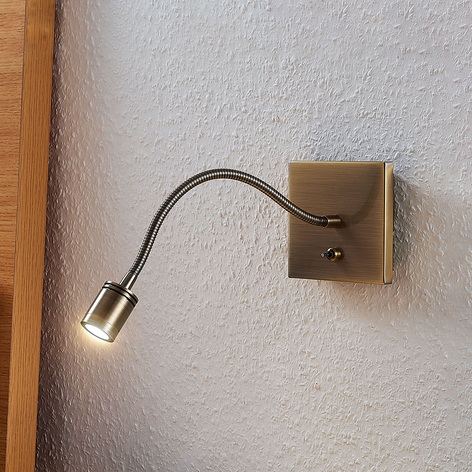 LED-veggleselampe Mayar, fleksarm, antikkmessing