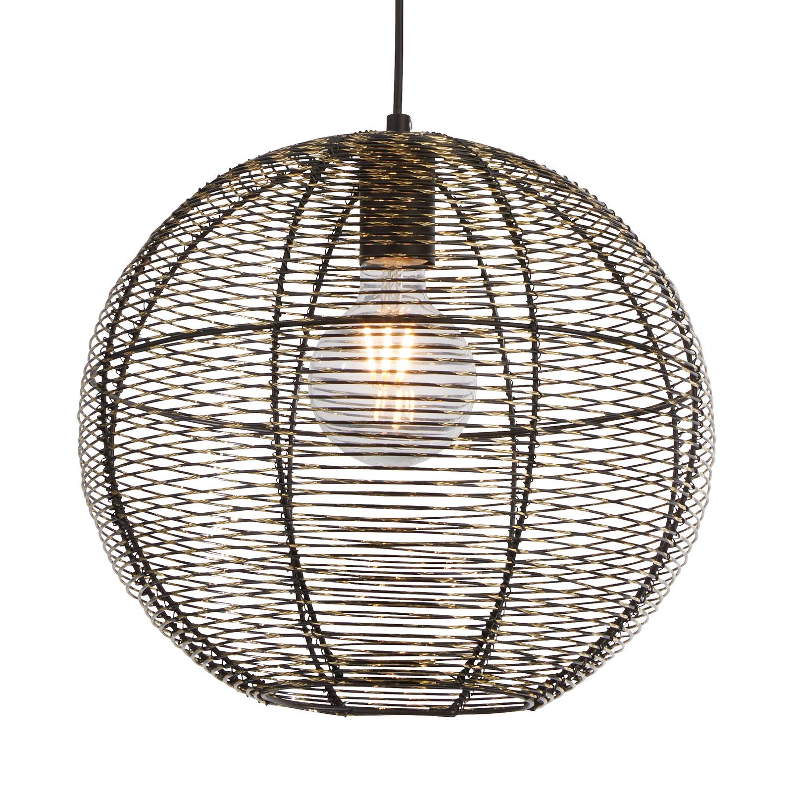 Hanglamp Weave, kooikap in zwart/goud