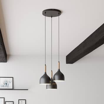 Colgante Noak 3 luces redonda negro/madera natural