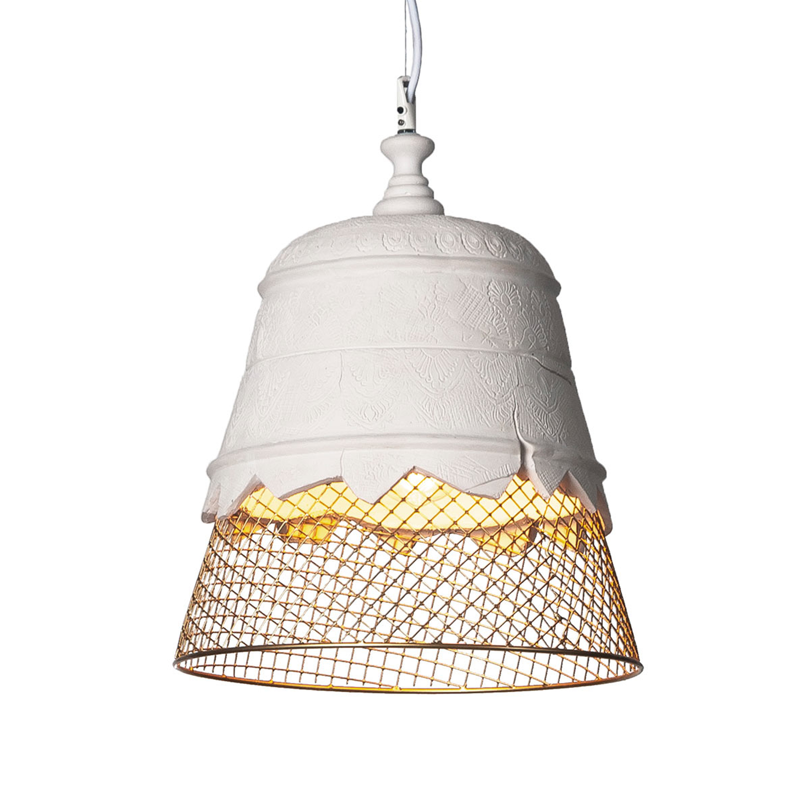 Gipsowa lampa wisząca Domenica, złota, 35cm