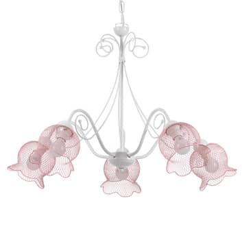 Závěsné světlo Mia s pěti síťovými stínidly růžová