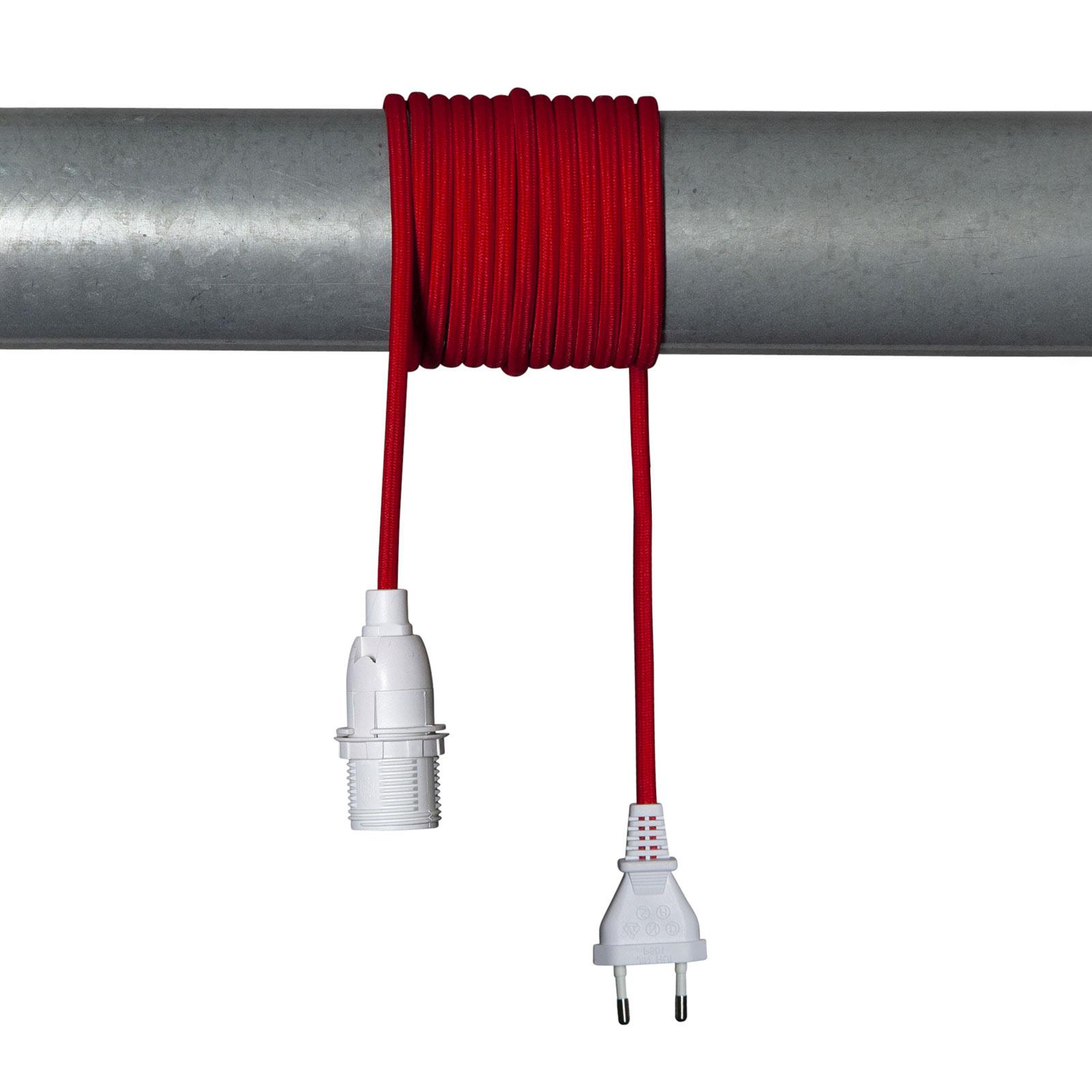 E14-fatning Lacy med kabel, rød og hvit