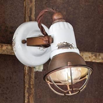 Vägglampa C1675/1 med korg, 1 lampa, vit