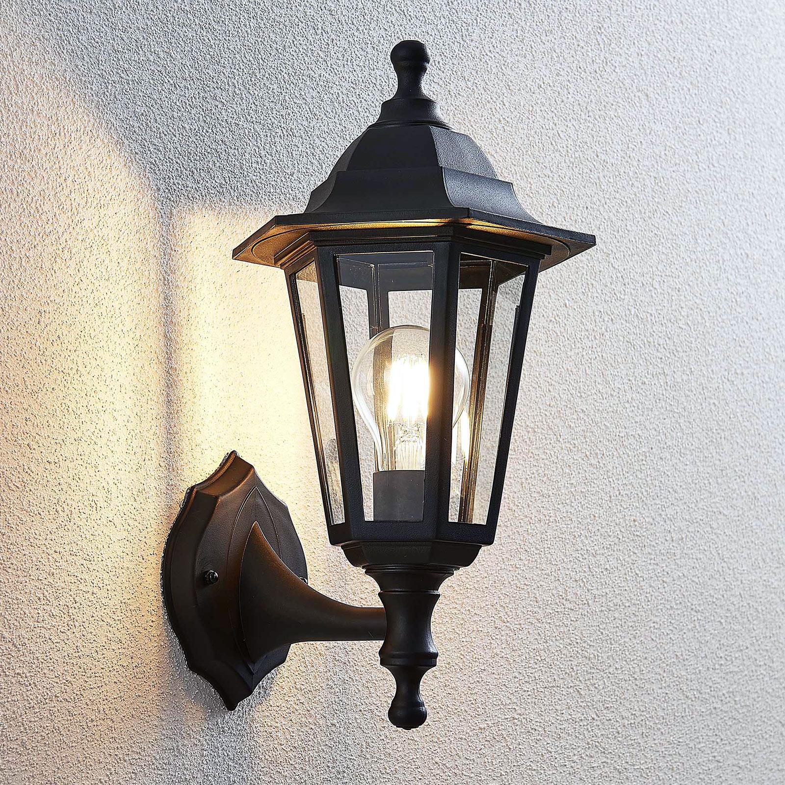 Utevegglampe Nane lyktlignende form, svart