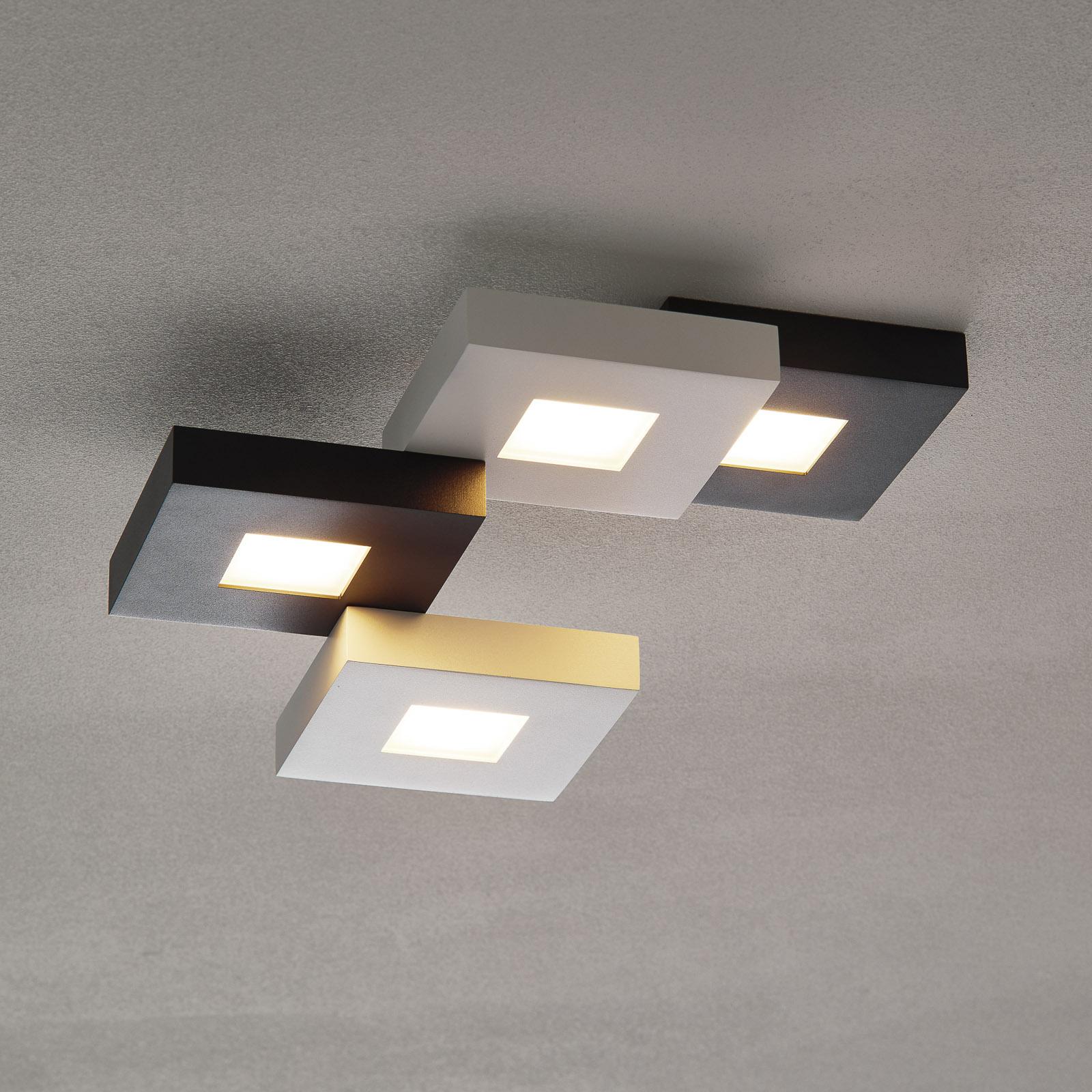 Plafoniera LED Cubus bianca e nera, 4 punti luce