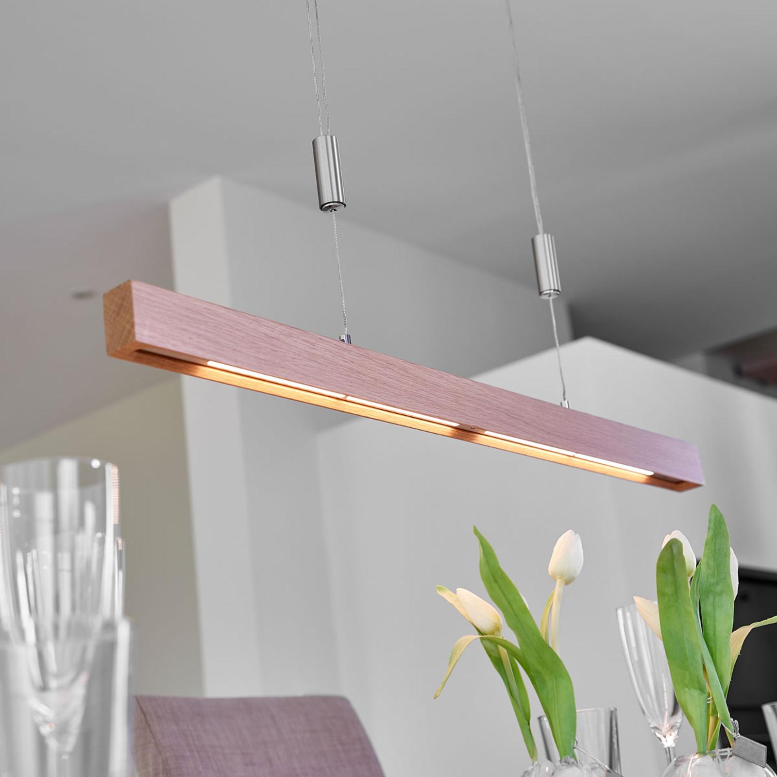 Lampa wisząca LED Nora w formie belki, dąb, 78 cm