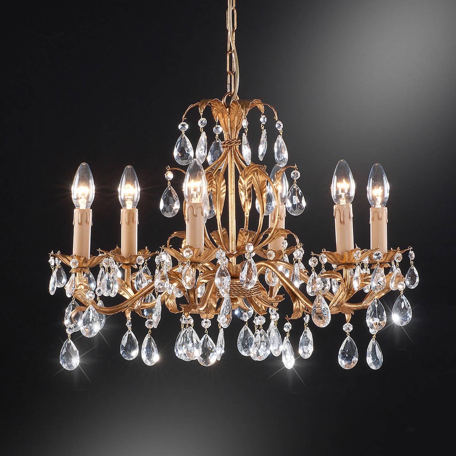 Kroonluchter 90/6, 6-lamps met glasbehang
