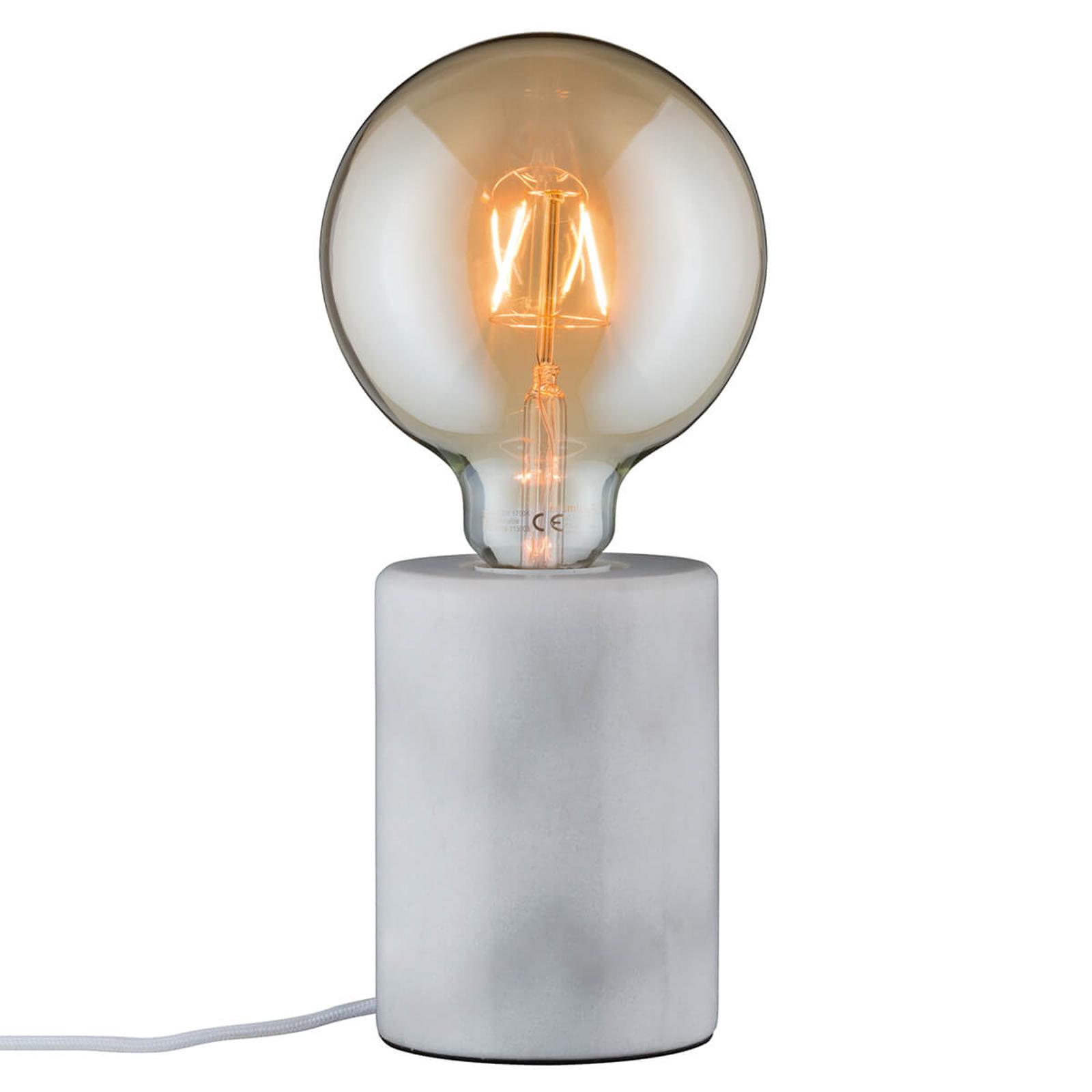 Lampada da tavolo Nordin in marmo bianco