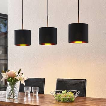 Lindby Trinika textiel-hanglamp in zwart