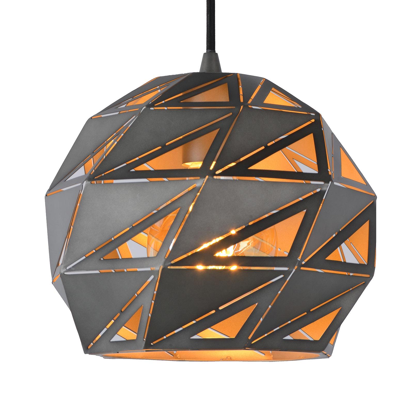 Lampa wisząca Malunga z metalu, szaro-złota