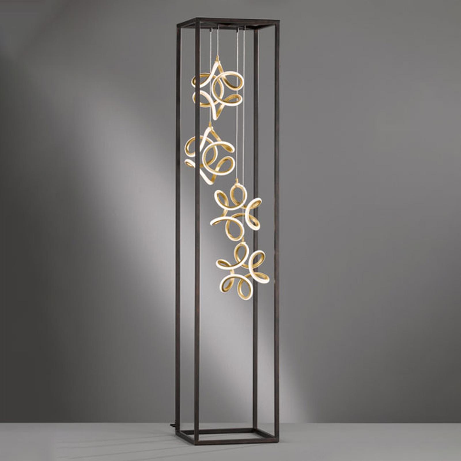 LED vloerlamp Gesa met 4 lichtelementen in kooi