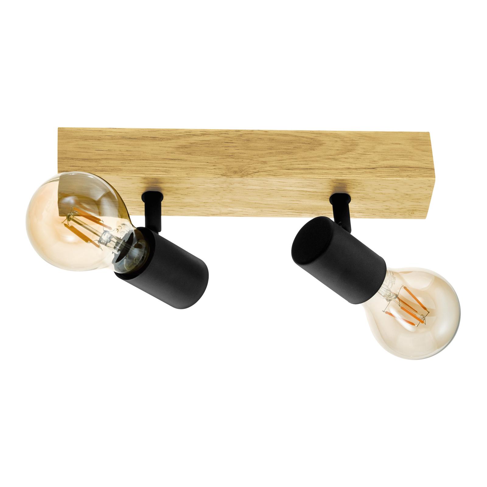 Plafoniera Townshend 3 di legno, 2 luci