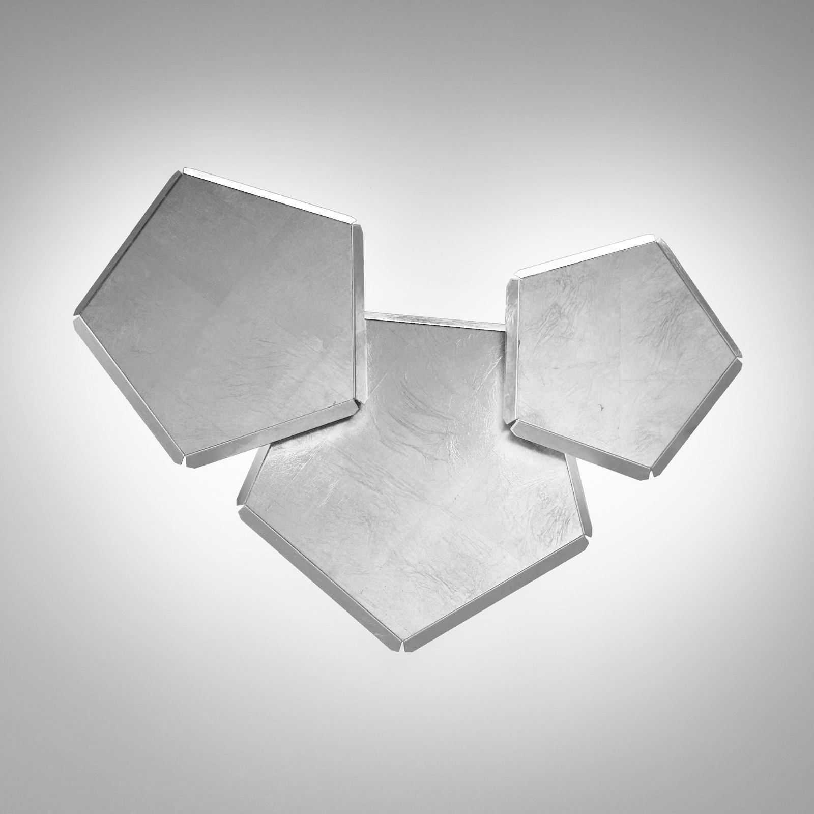 LED-vegglampe Pleiadi med sølvblad 3 lyskilder