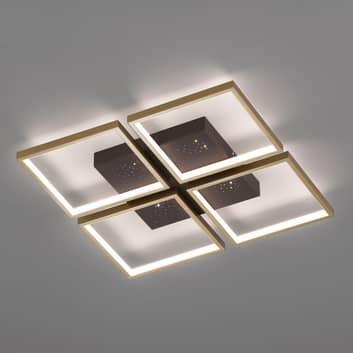LED-Deckenleuchte Pix, braun, vierflammig 54x54cm