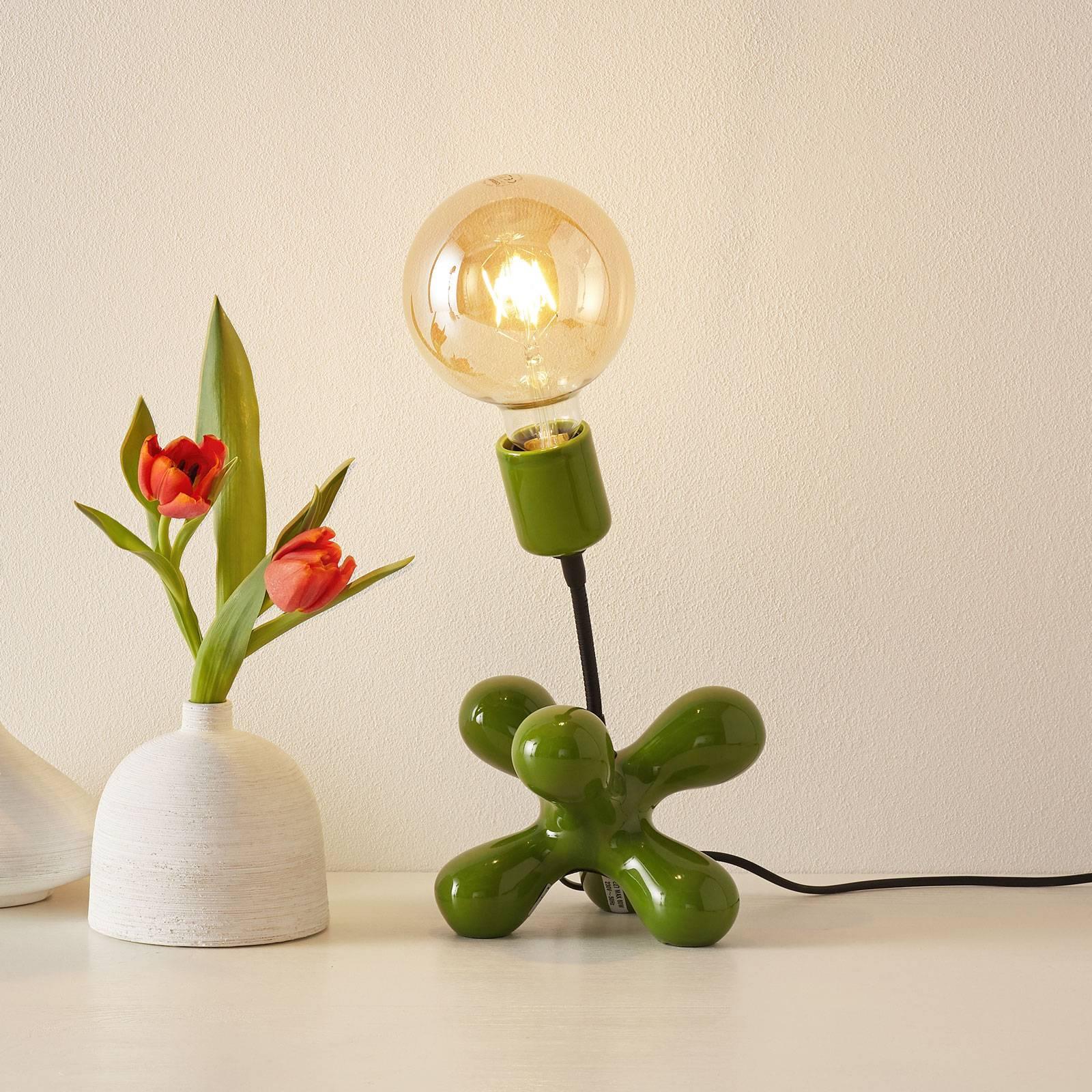 Lampe à poser céram. L181 bras flex vert brillant
