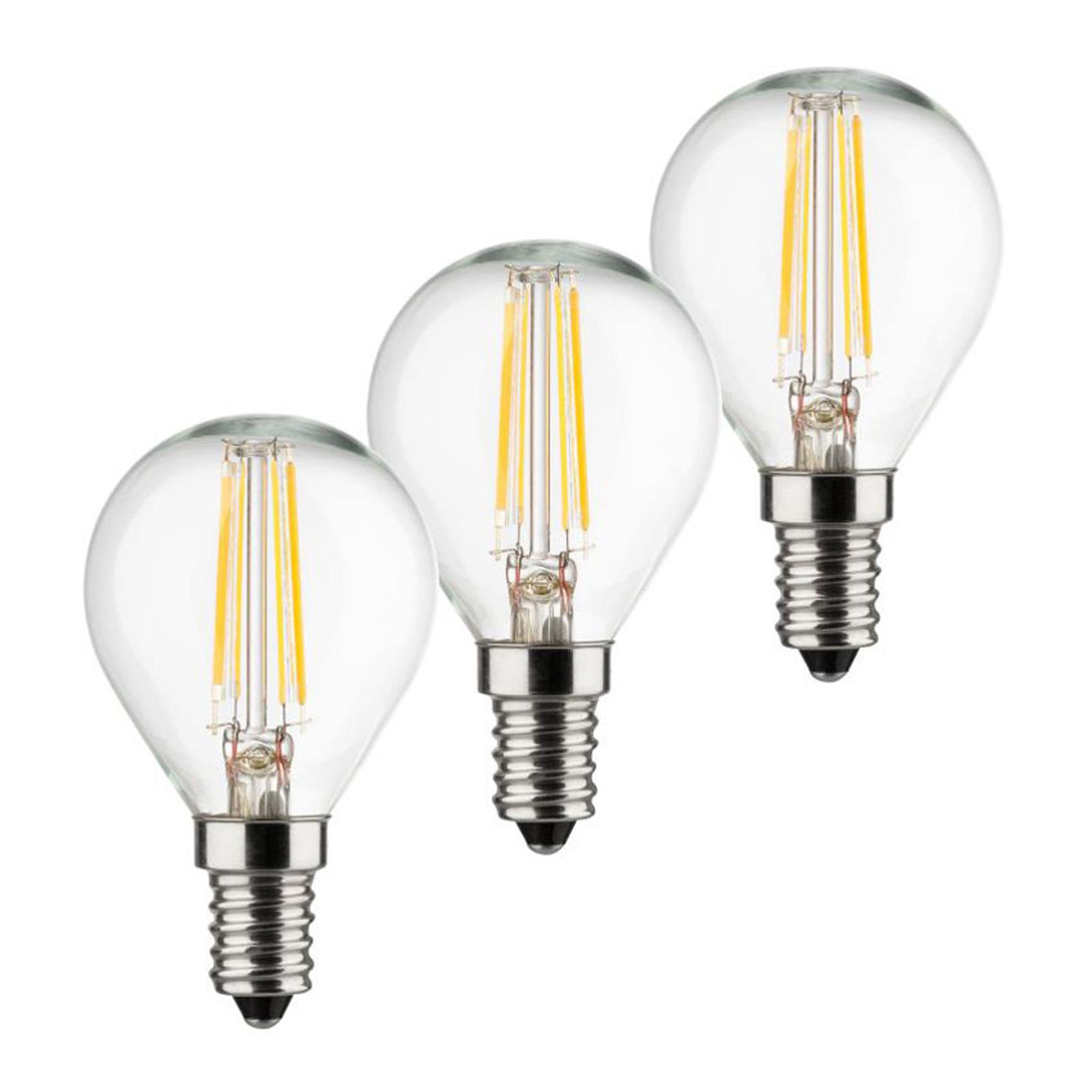 LED-Tropfenlampe E14 4W 2.700K Filament 3er Set