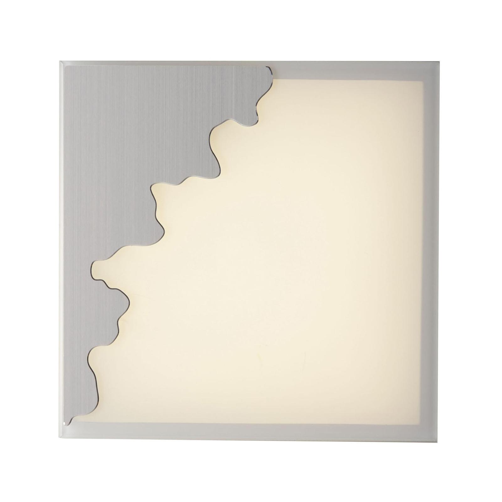 Vegglampe Chic, kantet, sølv/satinert, 25x25cm