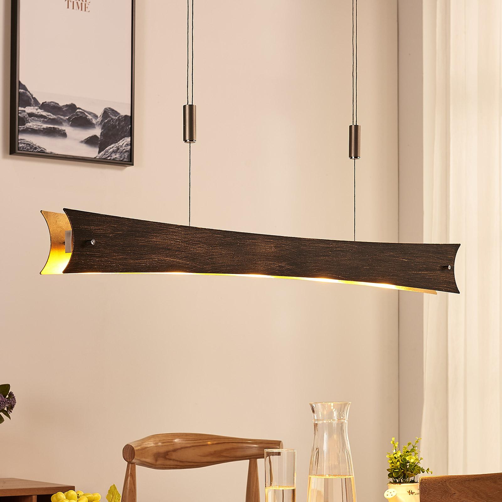 Dimbar LED-pendellampe Ebba, svart- gull