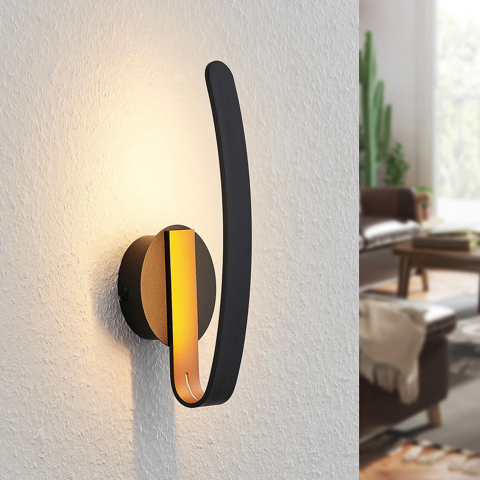 Arcchio Dzemail LED-Wandlampe, indirekt, schwarz