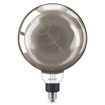 Philips E27 Giant LED-globlampa 6,5W dimbar smoky