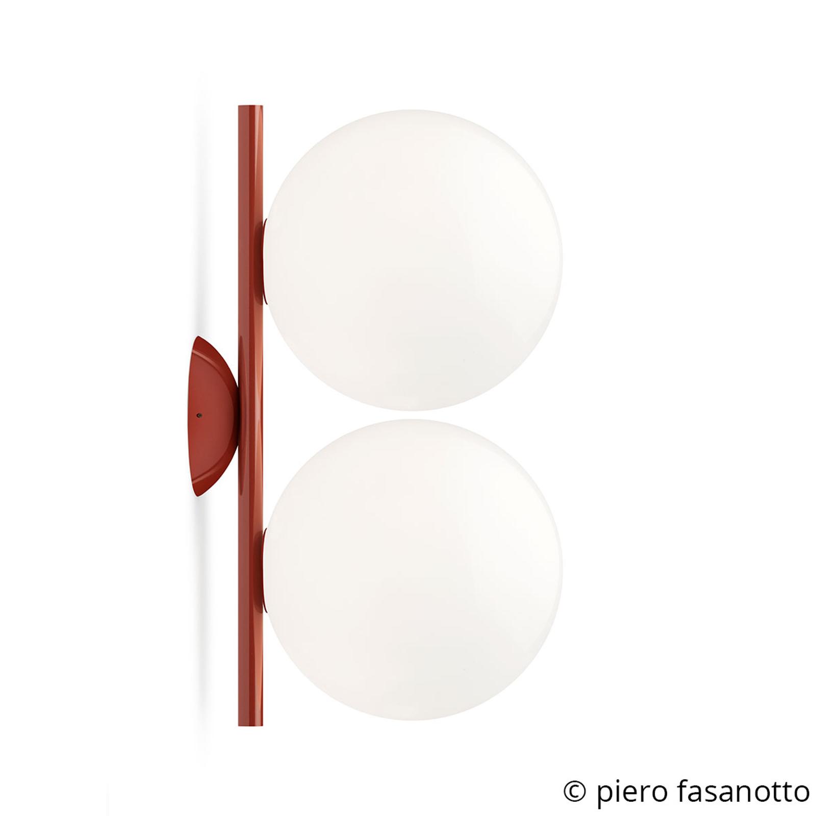 FLOS IC C/W1 Double Wandleuchte rot Ø 20 cm