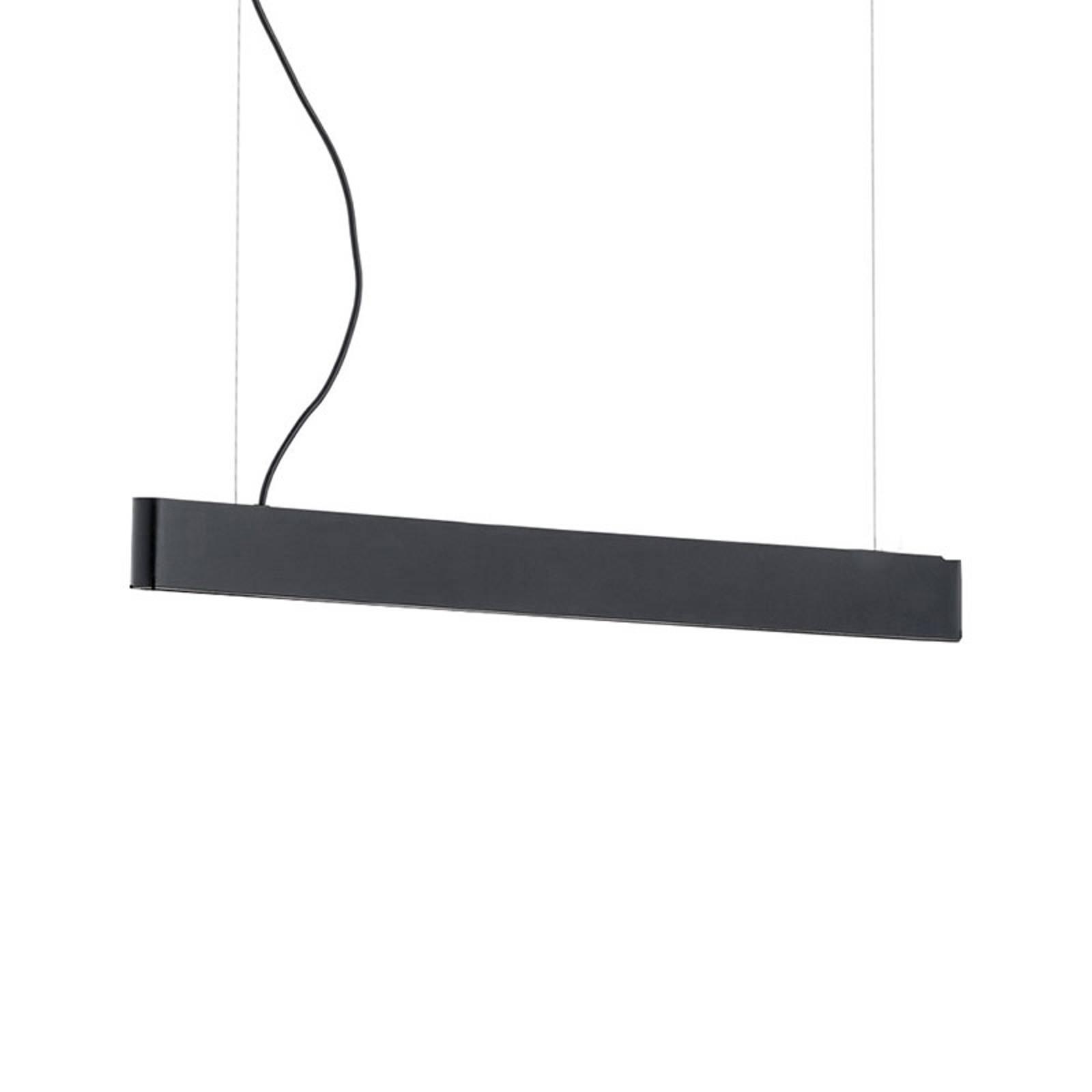 Suspension LED Abbon, abat-jour bois noir 70cm