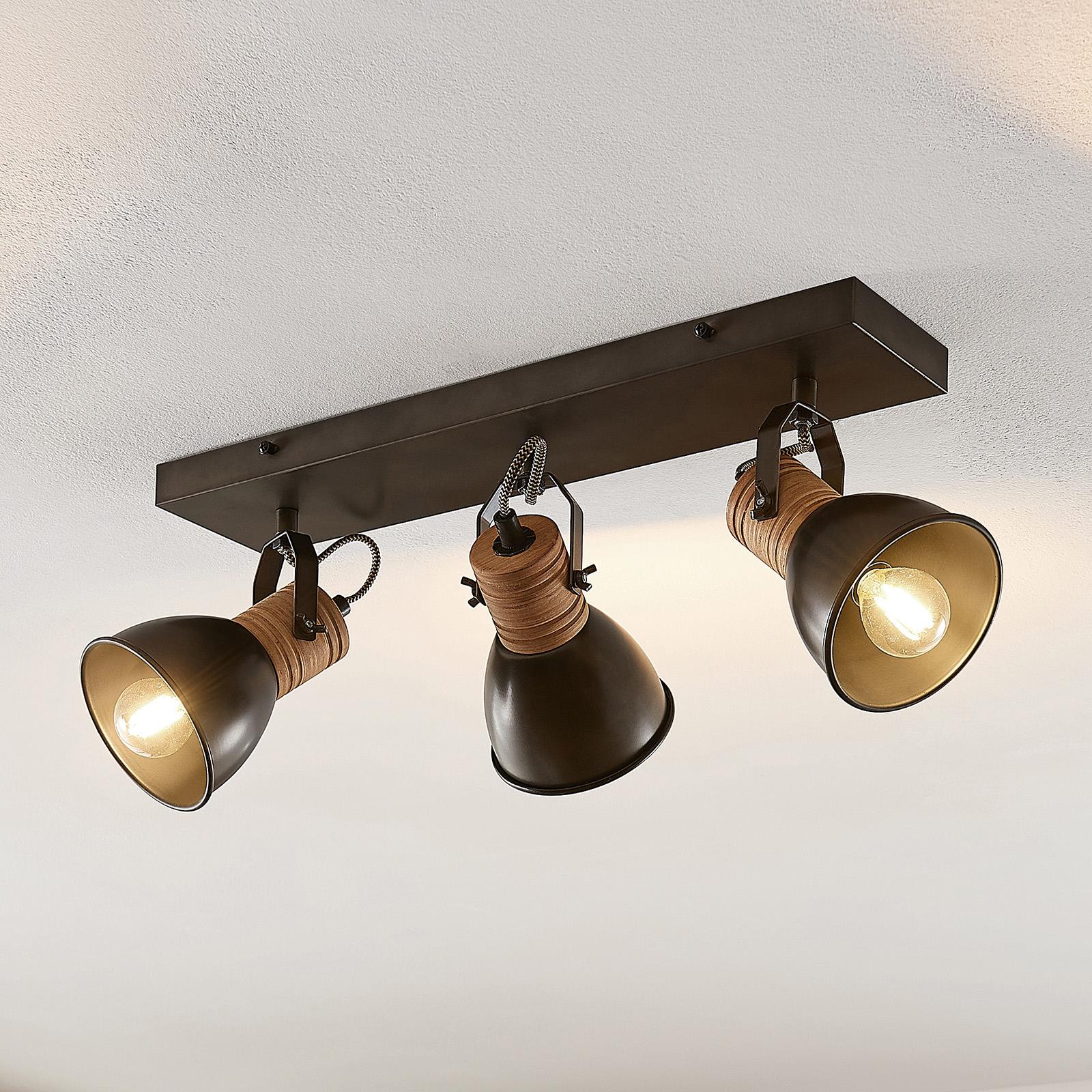 Lindby-Arina stropní světlo, podlouhl., dřevo, 3ž.