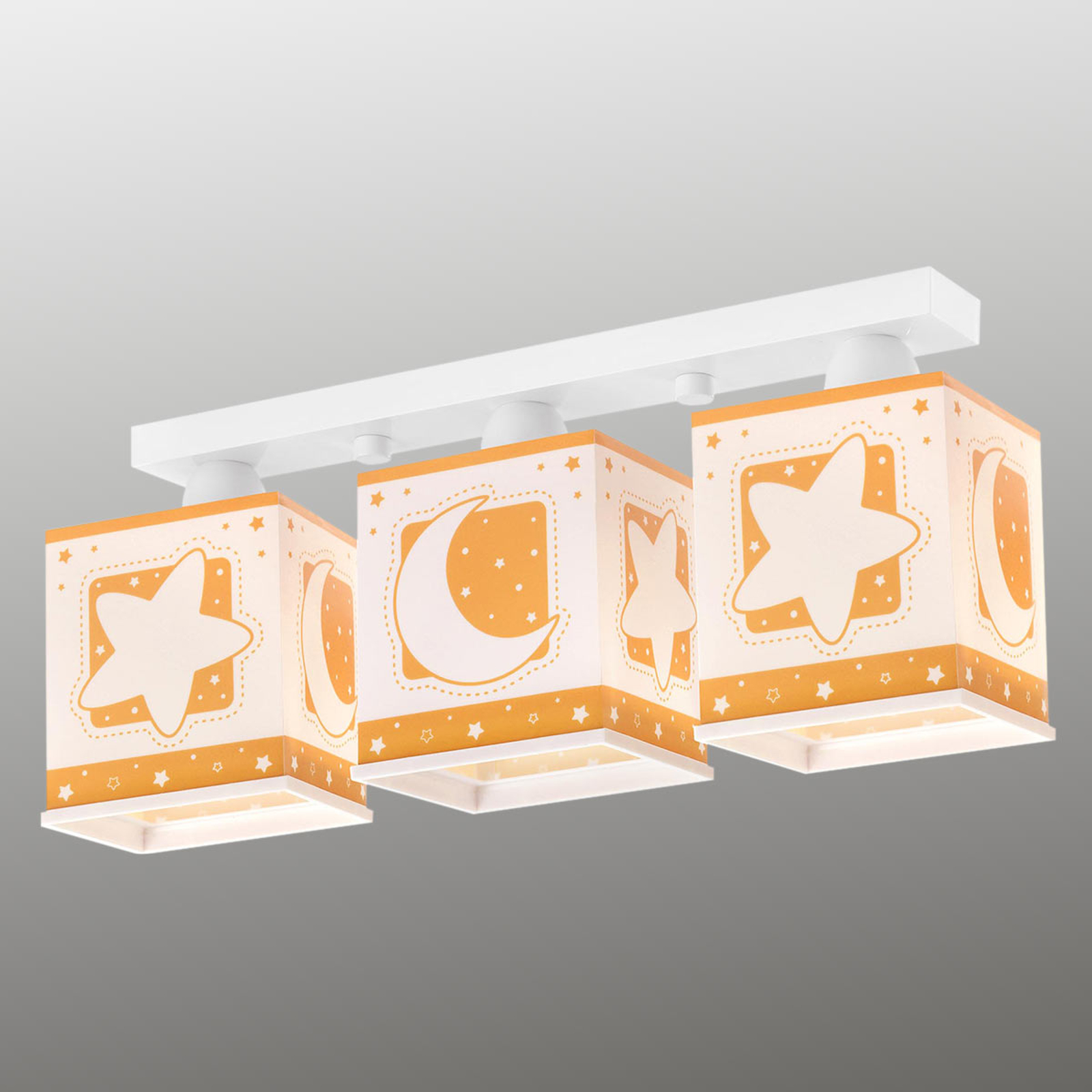Trzyświetlówkowa lampa sufitowa Stars pomarańczowy