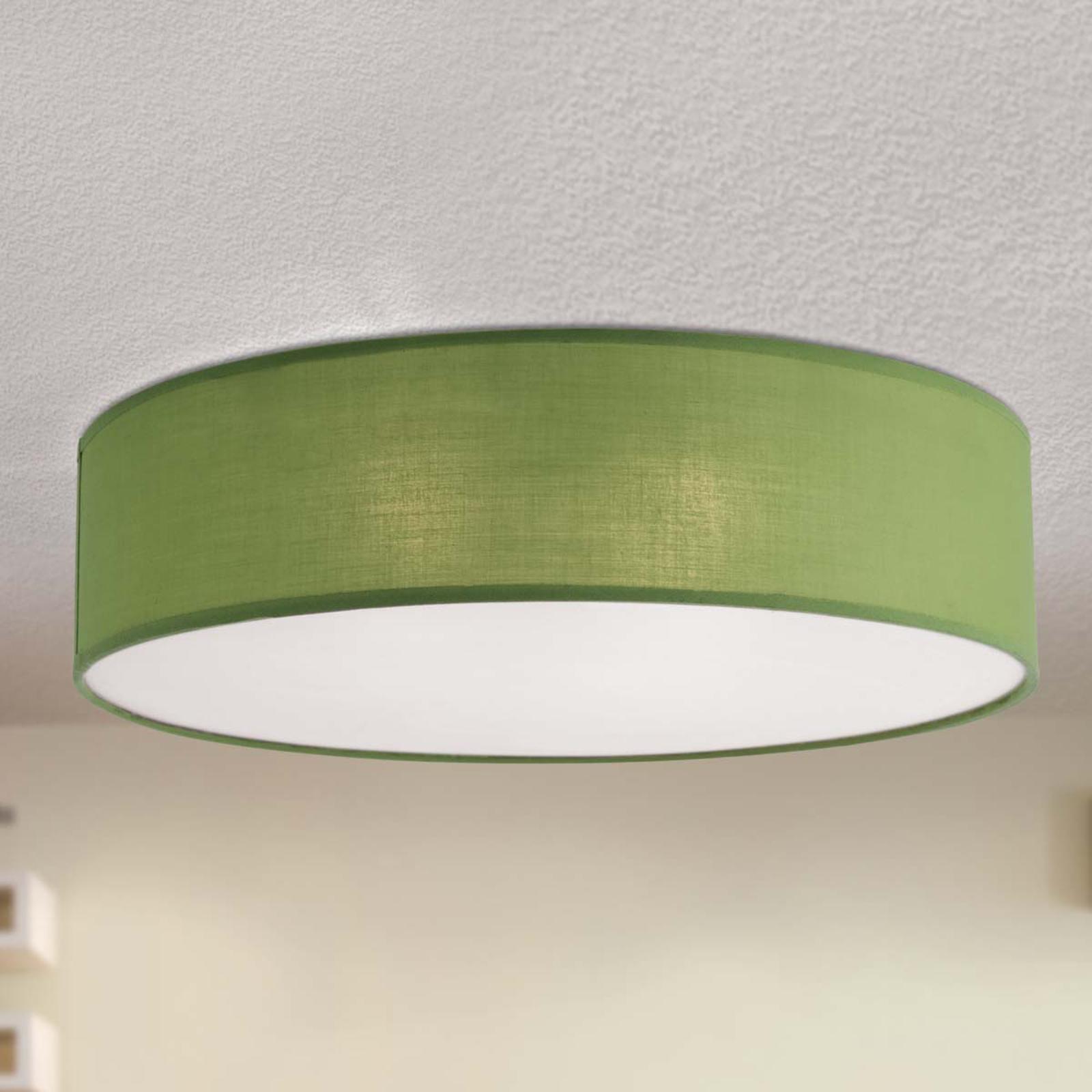 Zielona materiałowa lampa sufitowa Jitendra