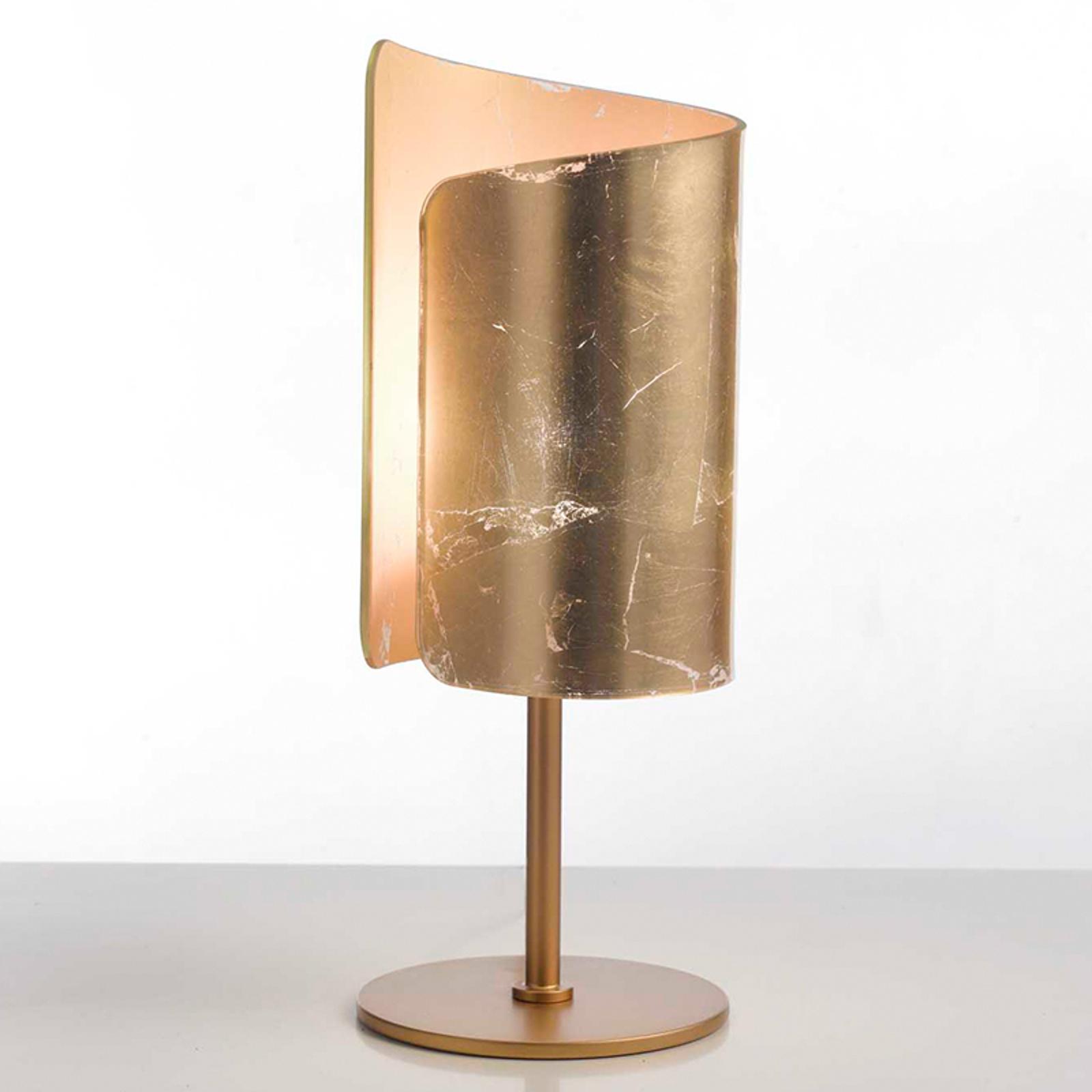 Leuke tafellamp Papiro, goudkleurig